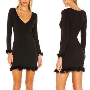 Lovers + Friends Mini Dress Bristol Fur Soft Black